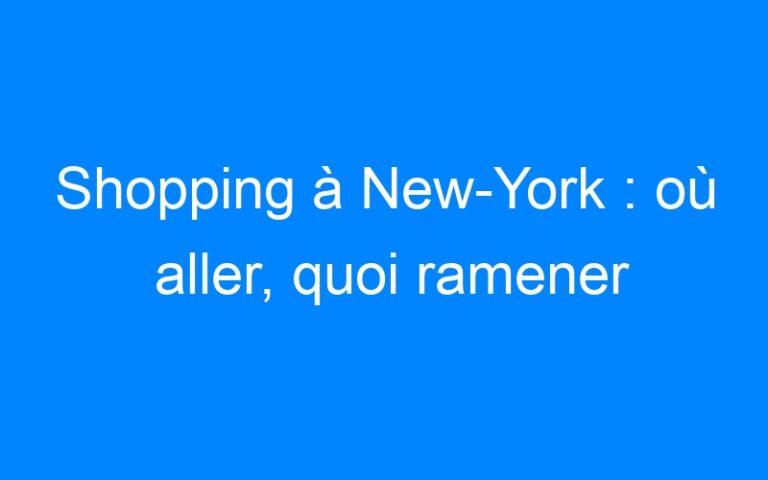 Shopping à New-York : où aller, quoi ramener